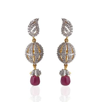 Heena Ball hanging violet pearl Earings >> HJER14V <<