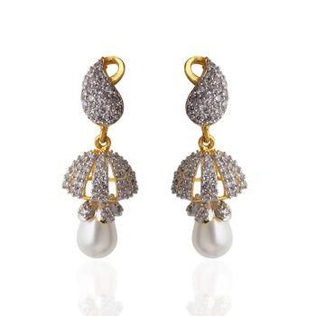 Heena Trendy hanging white pearl Earings >> HJER15W <<