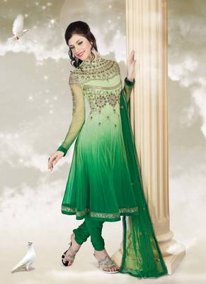 Catching Green Shaded Net Neck Embroidered Anarkali Suits