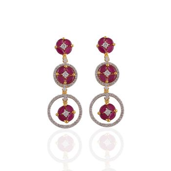 Heena Classic Red Stones Earrings >> HJER17R <<