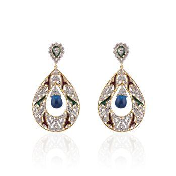 Heena Contemporary Enamel  Blue Pearl hanging  Earings >> HJER22BL <<