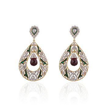 Heena Contemporary Enamel  Maroon Pearl hanging  Earings >> HJER22M <<