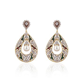 Heena Contemporary Enamel  White Pearl hanging  Earings >> HJER22W <<