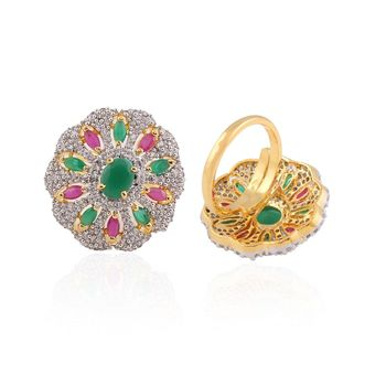 Heena Classic Multicolour stone Ring >> HJRN16GR <<