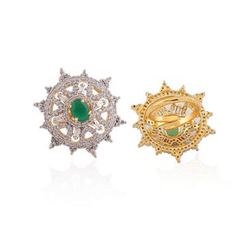 Heena Trendy Floral Green Stone Ring >> HJRN18G <<