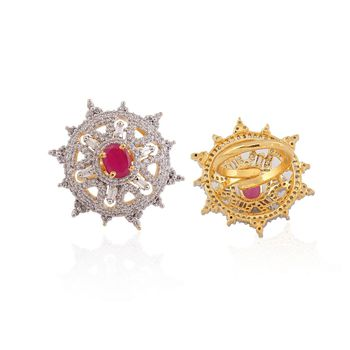 Heena Trendy Floral Red Stone Ring >> HJRN18R <<