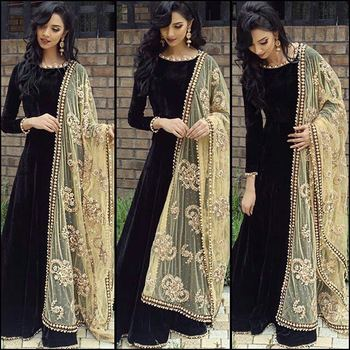 f8dc95ce4a Black velvet embroidered party wear gowns - Greenvilla designs - 1445883