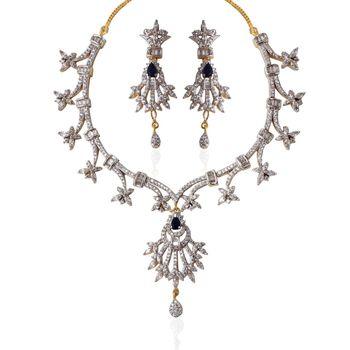 Heena Festive collection Black Pear stone CZ Necklace set >> HJNL95WB <<