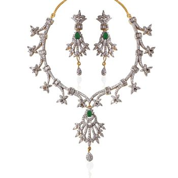Heena Festive collection Green color stone crafted CZ Necklace set >> HJNL95WG <<