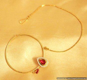 Ruby Kundan Nose Ring