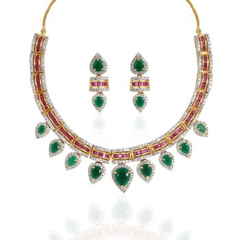 Heena Royal Collection Multicolour stones necklace set