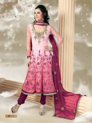 Conclusive Light Pink Shaded Net Embroidered Anarkali Suit