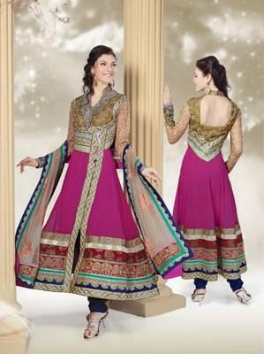 Wonderful Rani Pink Applique Work Anarkali Suit
