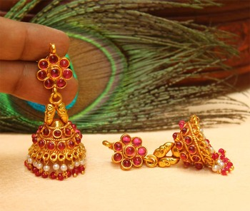 Beautiful High Gold pink colour  Geru Polish  Jhumkas
