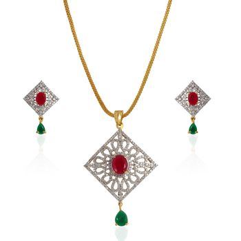 Heena Classic Collection multicolor Pendent Set >> HJPN124RG <<