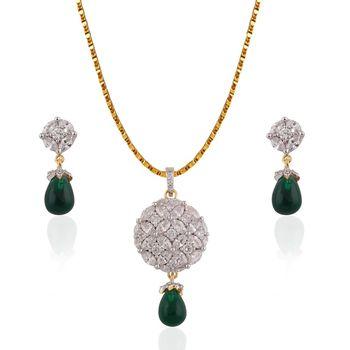 Heena Green Pearl Hanging Elegant Pendent set >> HJPN133G <<