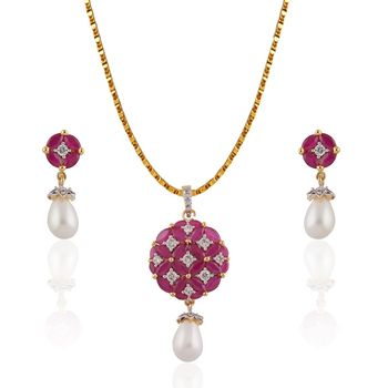 Heena white Pearl Hanging red marquise crafted Elegant Pendent set >> HJPN134 <<