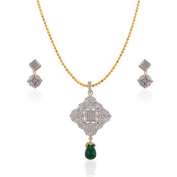 Heena Green Pearl Hanging Elegant Pendent set >> HJPN135G <<