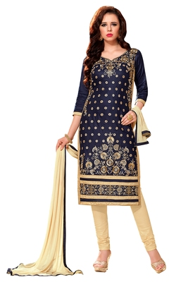 Blue Cotton Embroidered Semi Stitched Salwar With Dupatta