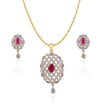 Heena Floral Trendy Collection Pendent Set >> HJPN137R <<