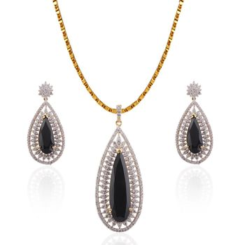Heena Fashion Exclusive Collection glossy Black stone Pendant Set >> HJPN139B <<