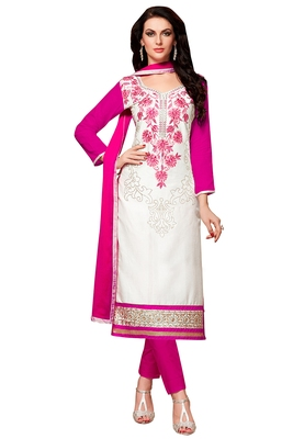 White cotton embroidered semi stitched salwar with dupatta