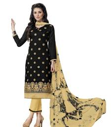 Black Cotton Embroidered Semi Stitched Salwar With Dupatta