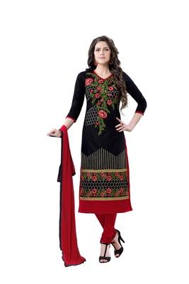 Black cotton embroidered semi stitched salwar with dupatta