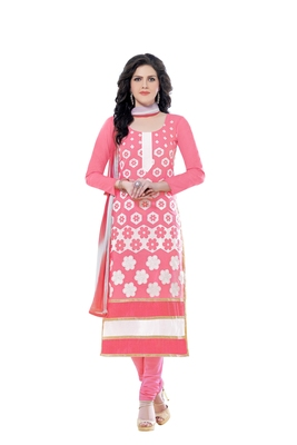 Pink Cotton Embroidered Semi Stitched Salwar With Dupatta