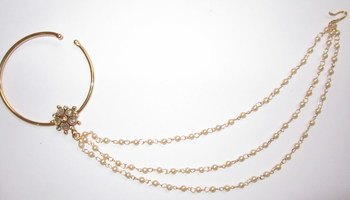 d07da0ff4d3 Nose ring hoop polki gold bridal press nath , attached 3 pearl chain