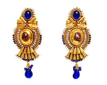 Gold Plated Blue Large Earrings