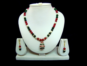 Red Green Pearl Moti Handmade Indian Bollywood Necklace set