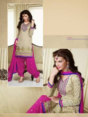 Beige and Magenta Cotton Chanderi Patiyala Patiala Salwar Kameez Unstitched Designer Suit Party Wear Indian