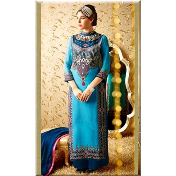 Turquoise Embroidered Cotton Dress