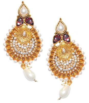 Maayra White Indian Traditional Wedding Festival Dangler Earrings