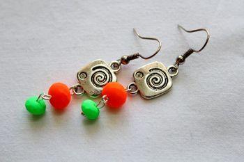 Orange and Green Earrings