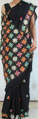 Handembroidered Phulkari Chinon Chiffon Saree- Black