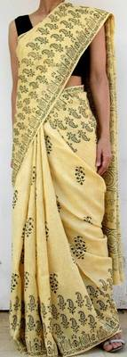Handwoven Khadi Silk Blockprint Sari- Black Pattern