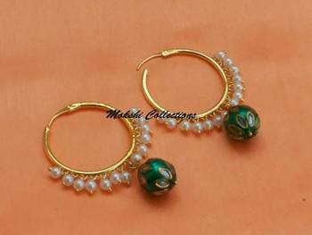 Gorgeous Green Hoops with Pearl Loreals