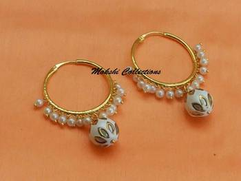Gorgeous White Hoops with pearl Loreals