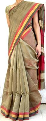 Handwoven Maheshwari Saree- Gray