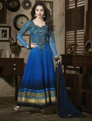 Shraddha Kapoor Blue Georgette Semi STITCHED Salwar Suit