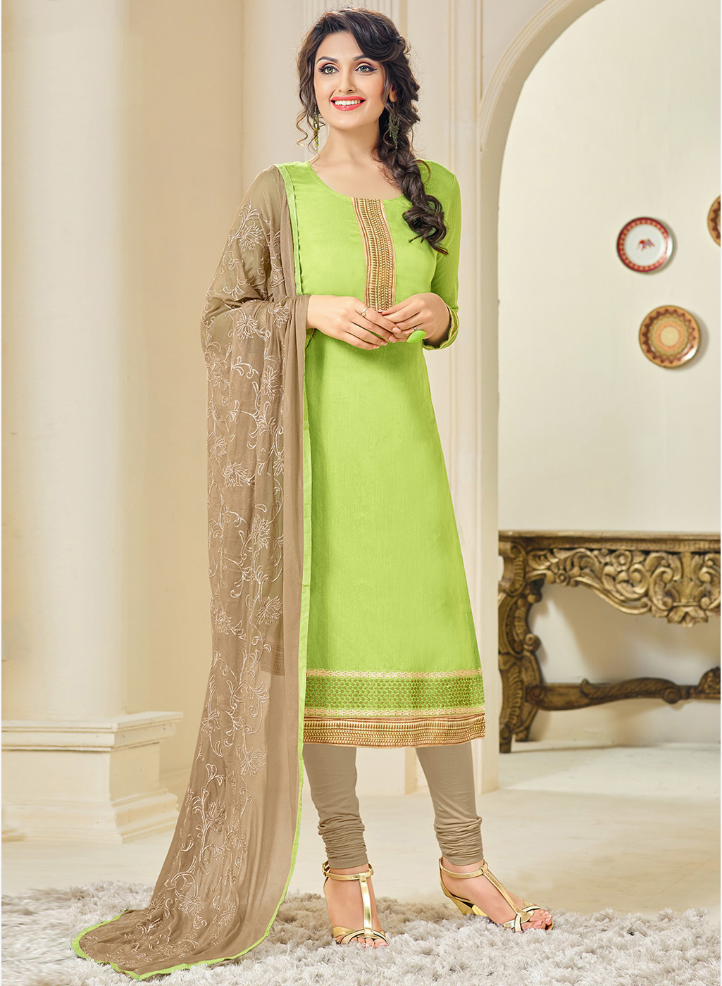 7de9cd16f Green cotton embroidered semi stitched salwar with dupatta - ZELLY - 1449124