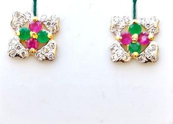 Emerald Ruby Floral Stud Earrings
