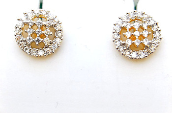 Ornate Round Diamond Studs