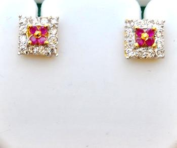 Ruby Diamond Stud Earrings