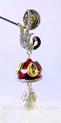 Peacock Kundan Danglers