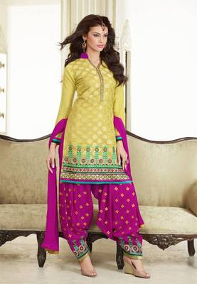 Mustard and Magenta Chanderi Cotton patiyala patiala salwar kameez unstitched designer suit party wear indian