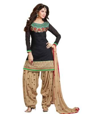 417e9fa96 Black and Beige Chanderi Cotton patiyala patiala salwar kameez unstitched designer  suit party wear indian - Aum Sanskriti - 181135