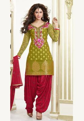 1f0aa8fa82 Green and Maroon Chanderi Cotton patiyala patiala salwar kameez unstitched  designer suit party wear indian - Aum Sanskriti - 181136